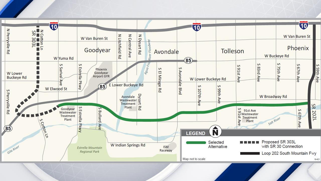 Map Of Loop 303 Arizona.Plans Advance For New Highway In Southwest Metro Phoenix Fox 10